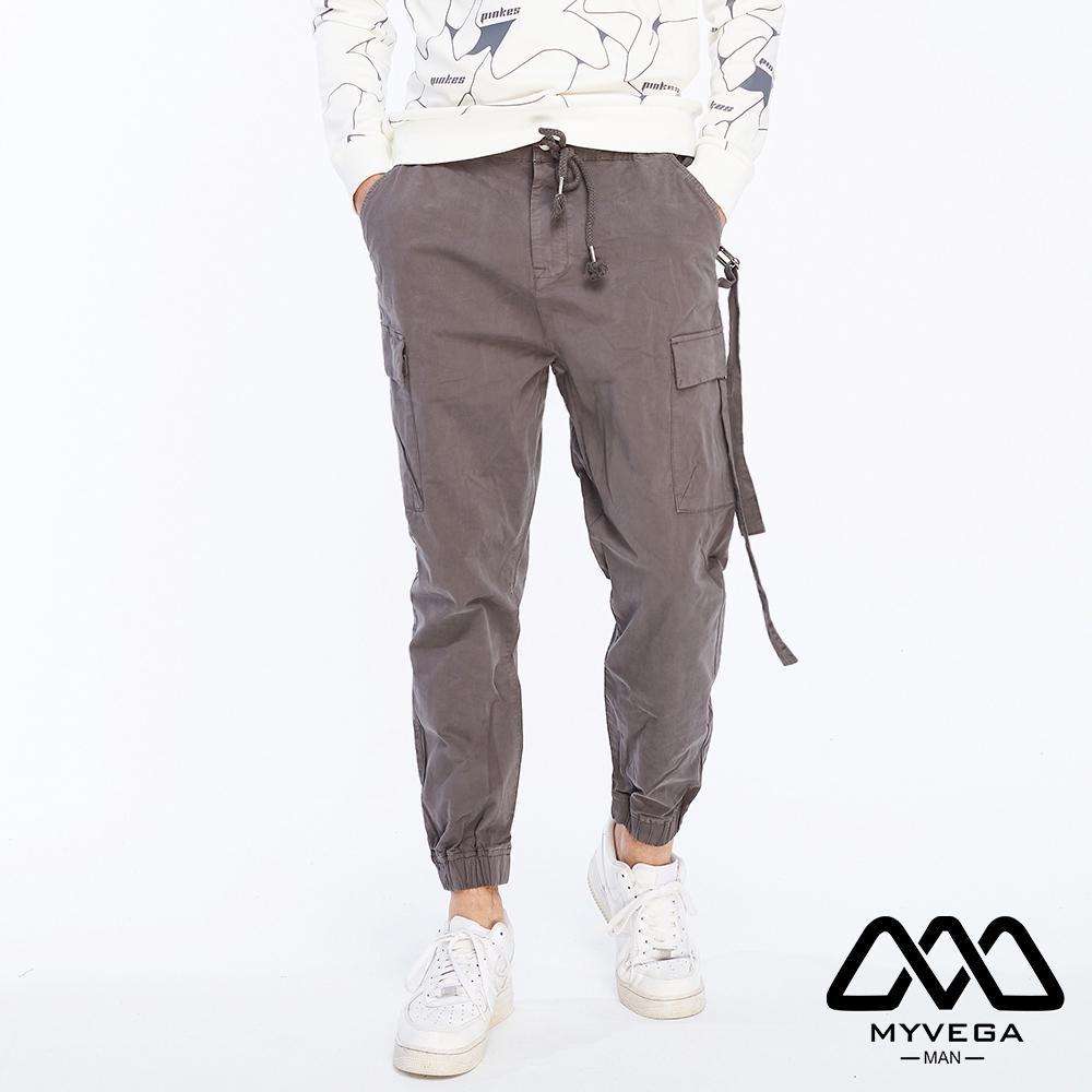 【麥雪爾】MAN工裝鬆緊帶抽繩長褲-灰