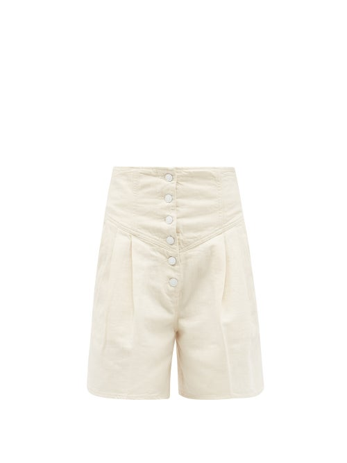 Made In Tomboy - Still Bull High-rise Denim Shorts - Womens - Ivory
