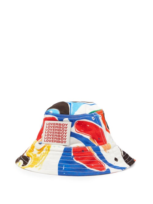 Charles Jeffrey Loverboy - Abstract-print Twill Bucket Hat - Womens - White Multi