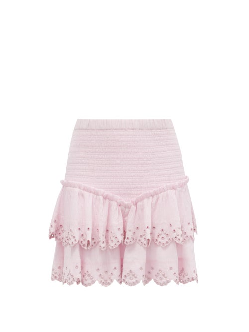 Isabel Marant - Landora Studded Tiered Cotton-blend Mini Skirt - Womens - Light Pink