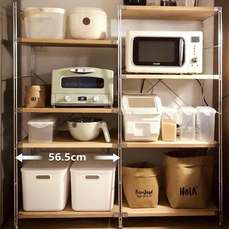 日本置物架落地钢木货架多层书架厨房整理架微波炉烤箱收纳架