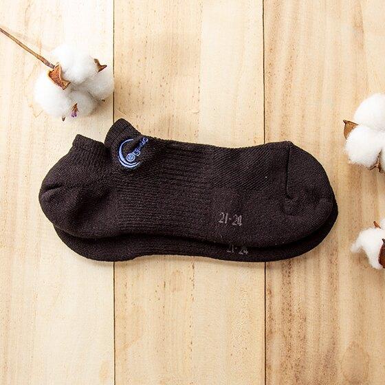 天天里仁有機棉半毛巾船型襪(黑)- 24~27cm/雙