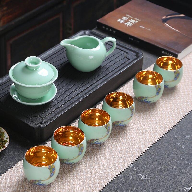 景德鎮單杯功夫茶具套裝陶瓷茶杯茶壺整套青花瓷龍泉青瓷家用茶具