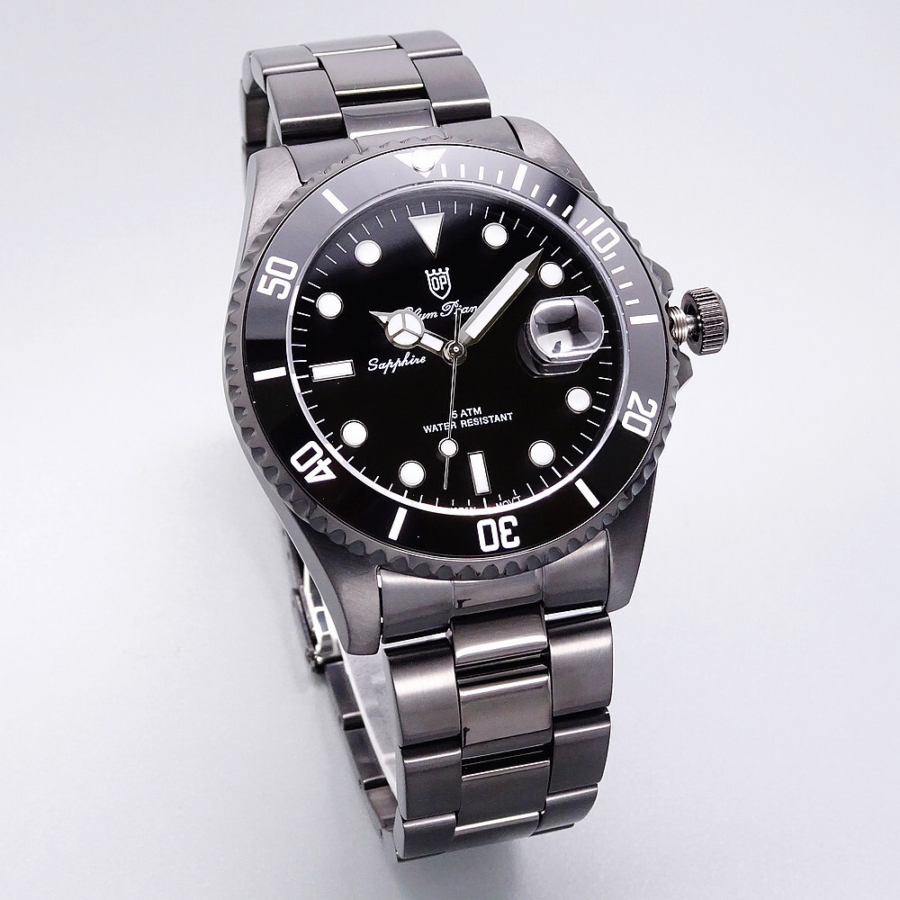 olym pianus 奧柏表 黑水鬼豪邁霸氣超強夜光運動型腕錶/43mm-全黑-899831gb