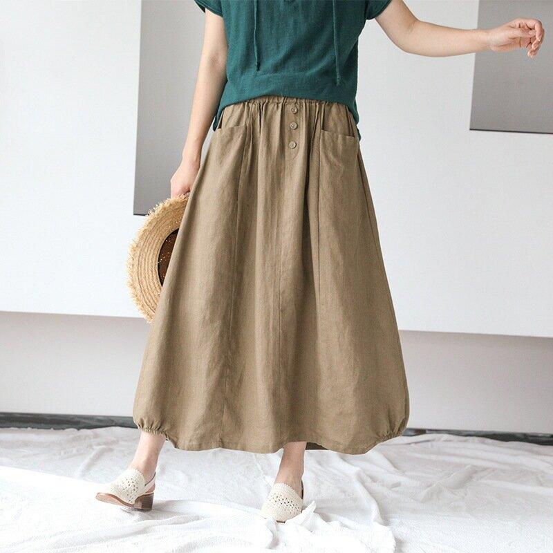 171-0502韓版顯瘦純色亞麻四粒扣半身裙夏季新款寬鬆棉麻裙子女