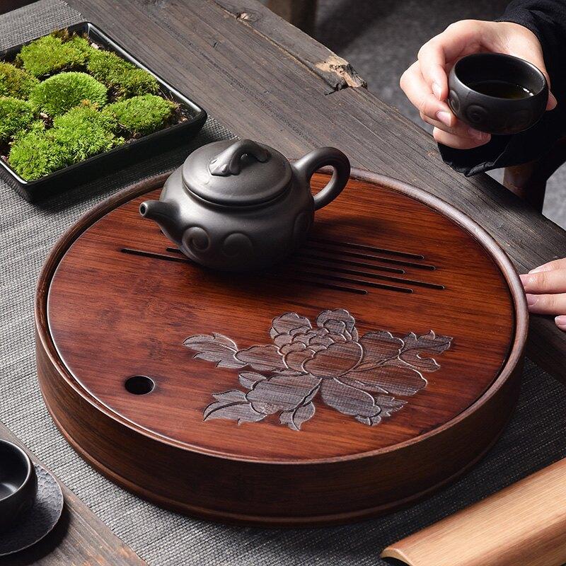 陶福氣 家用胡桃色儲水式茶盤 圓形茶托盤簡約家居百搭茶臺盛水盤