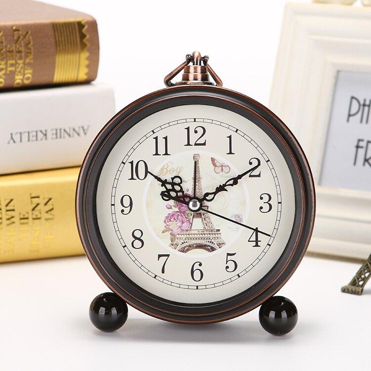 歐式復古學生用小鬧鐘創意床頭鐘表擺件靜音家用座鐘簡約台鐘時鐘 YJT