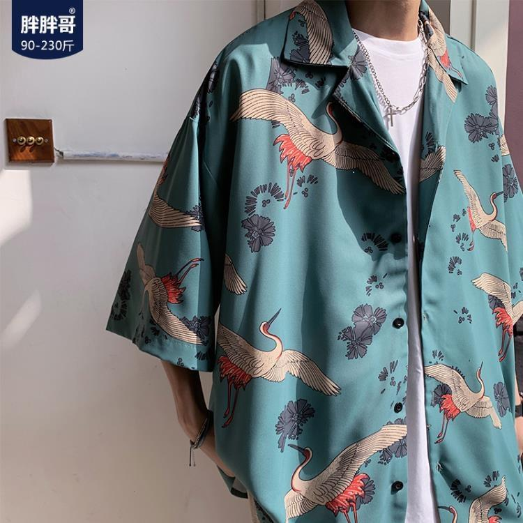 七分袖襯衫男韓版潮流夏季國潮印花寬鬆短袖襯衣休閒大碼胖子外套 凡卡時尚