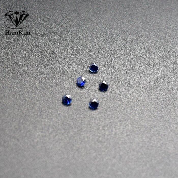 藍色寶石圓形圓鉆剛玉裸石diy首飾戒指吊墜鑲嵌配石1.0-3.0mm碎鉆