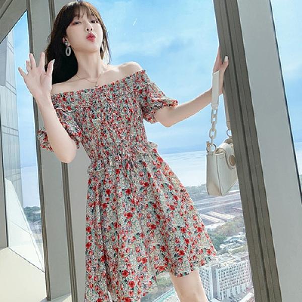 一字肩洋裝雪紡碎花 連身裙S-XL甜美公主小清新收腰顯瘦泡泡袖碎花連身裙BMA110快時尚