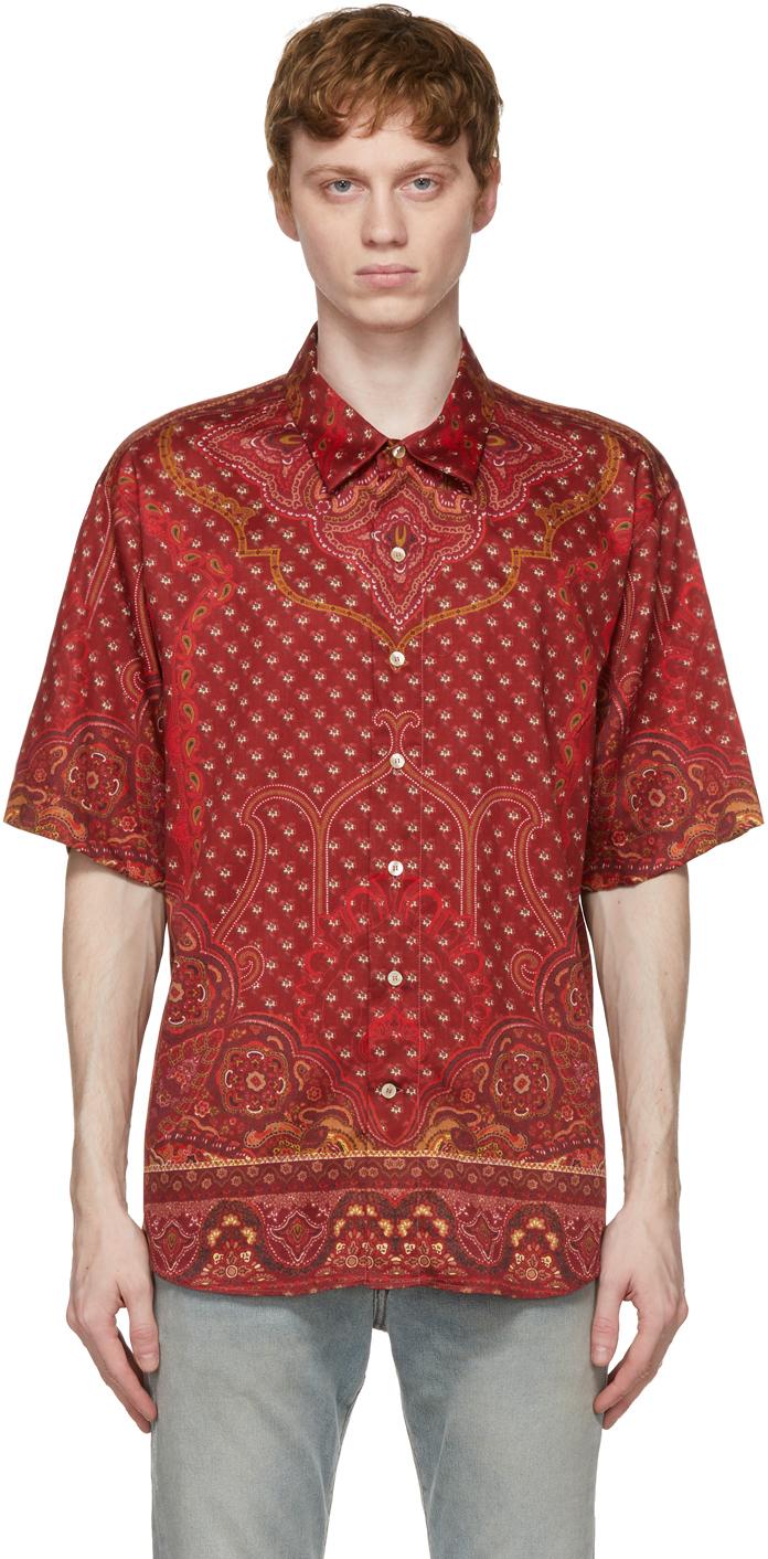 Etro 红色印花短袖衬衫