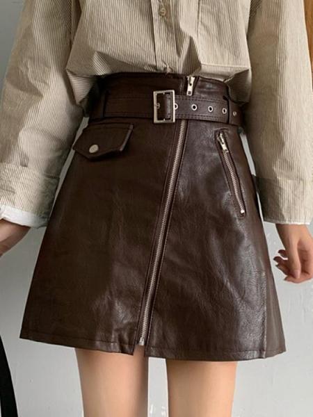 皮裙 新款韓版ins超火的半身裙高腰顯瘦皮裙A字短裙包臀裙子女【快速出貨】