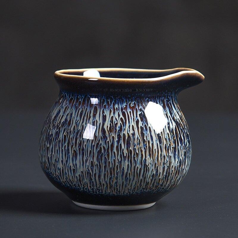 陶福氣 手工鑲銀曜變藍拉絲公道杯 家用拉絲星空盞分茶器茶海組