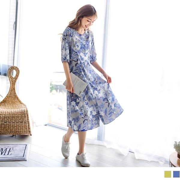 《DA7340-》渡假風開襟花朵印花雪紡外套洋裝 OB嚴選