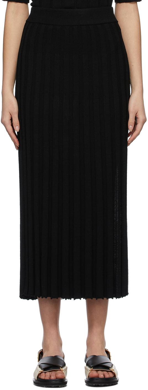JOSEPH 黑色 Textured Rib 半身裙