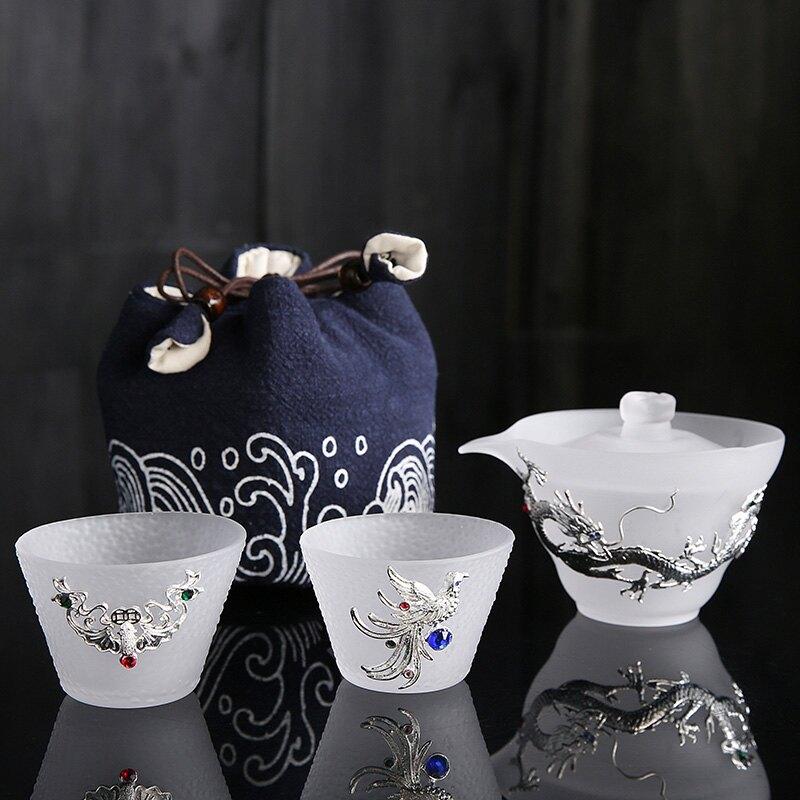 一壺兩杯高檔古典旅行功夫茶具套裝復古杯鑲銀琉璃快客杯便攜茶杯