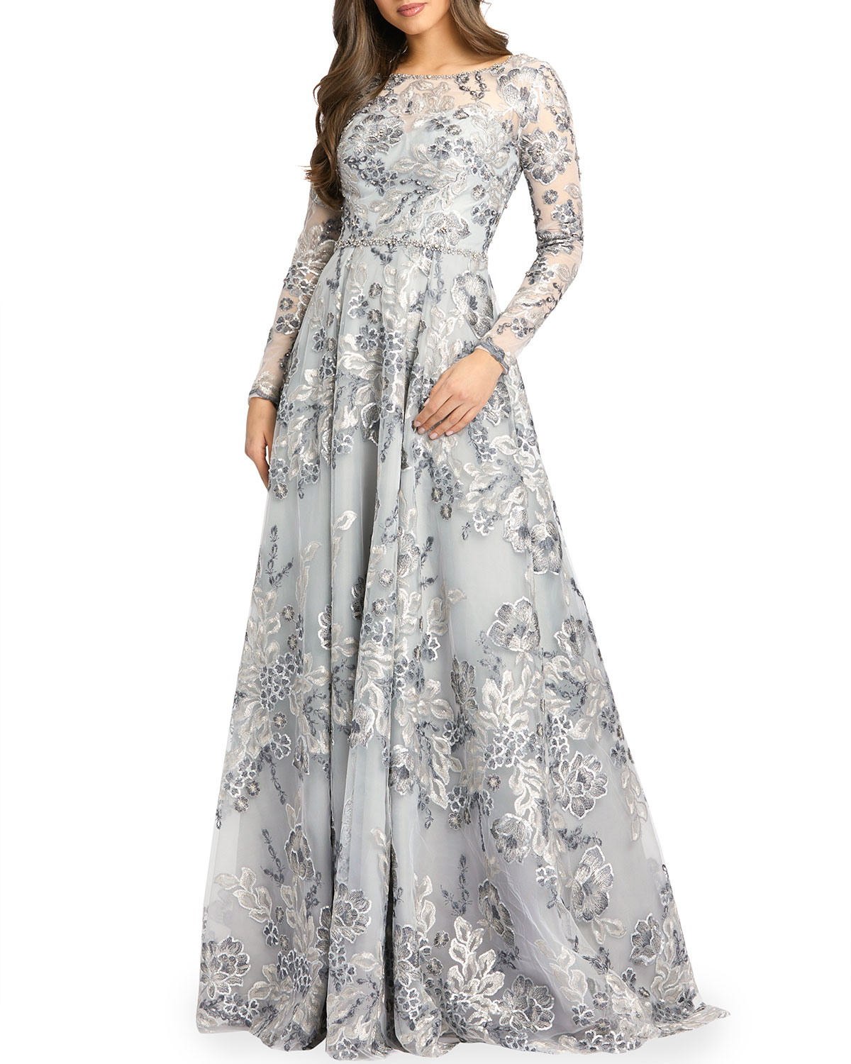 Floral Metallic Long-Sleeve A-Line Gown