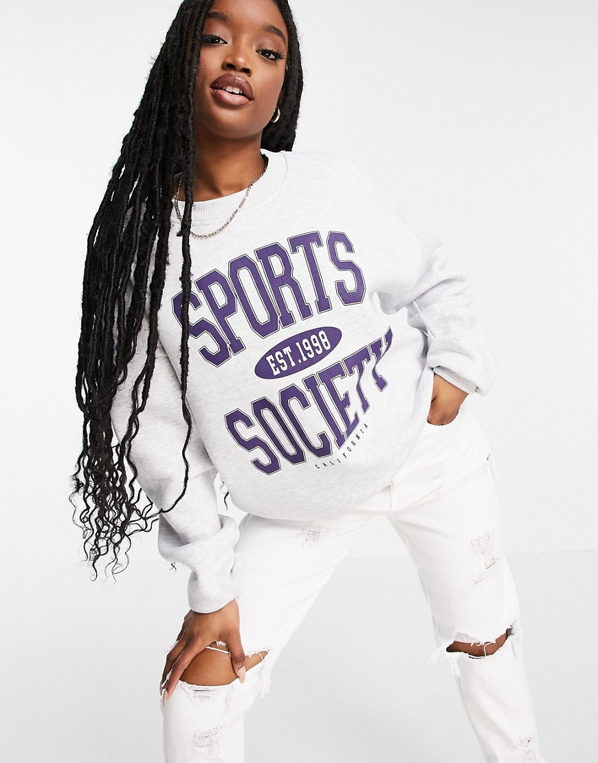 ASOS DESIGN oversized sweatshirt with sports society motif in grey