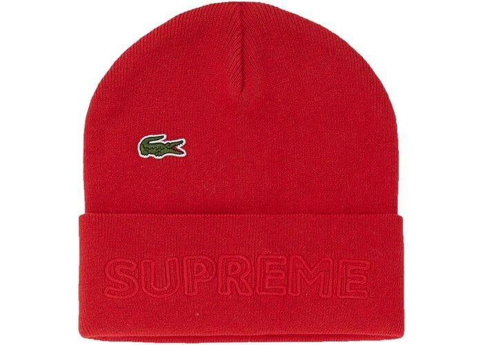 Supreme LACOSTE 毛帽 紅色