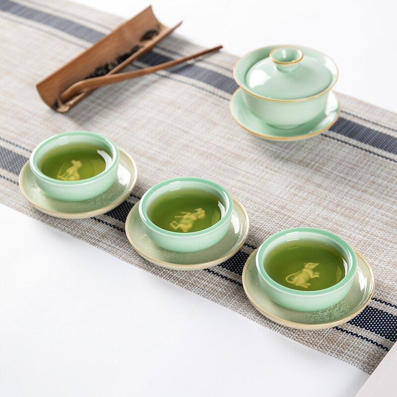 逸峰茶杯陶瓷主人杯青瓷浮雕建盞功夫小茶盞茶具茶道配件喝茶單杯