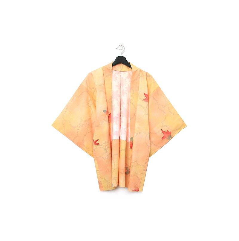 Back to Green-日本帶回羽織 清透 落葉 /vintage kimono