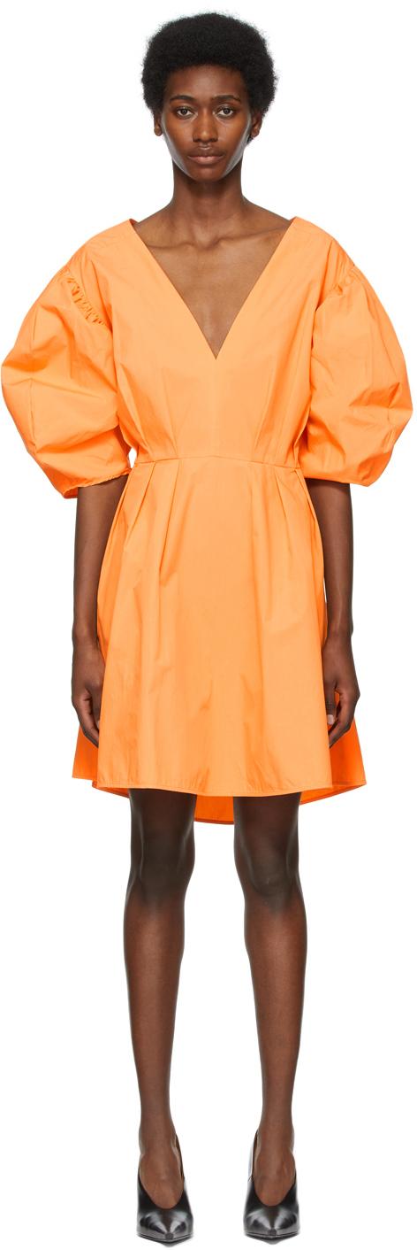 MSGM 橙色灯笼袖连衣裙