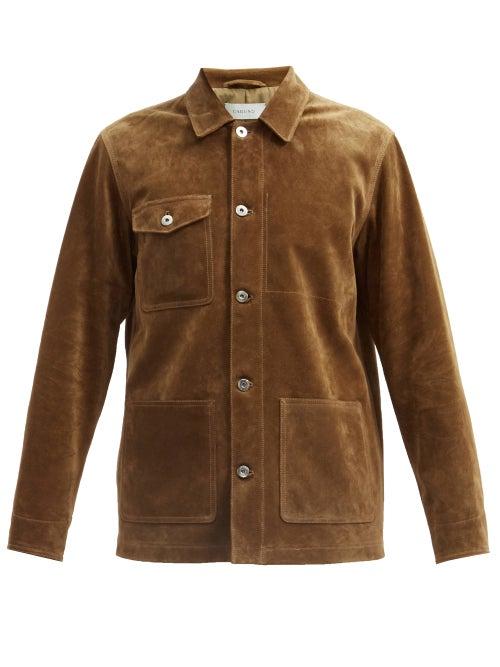 Caruso - Patch-pocket Suede Jacket - Mens - Brown