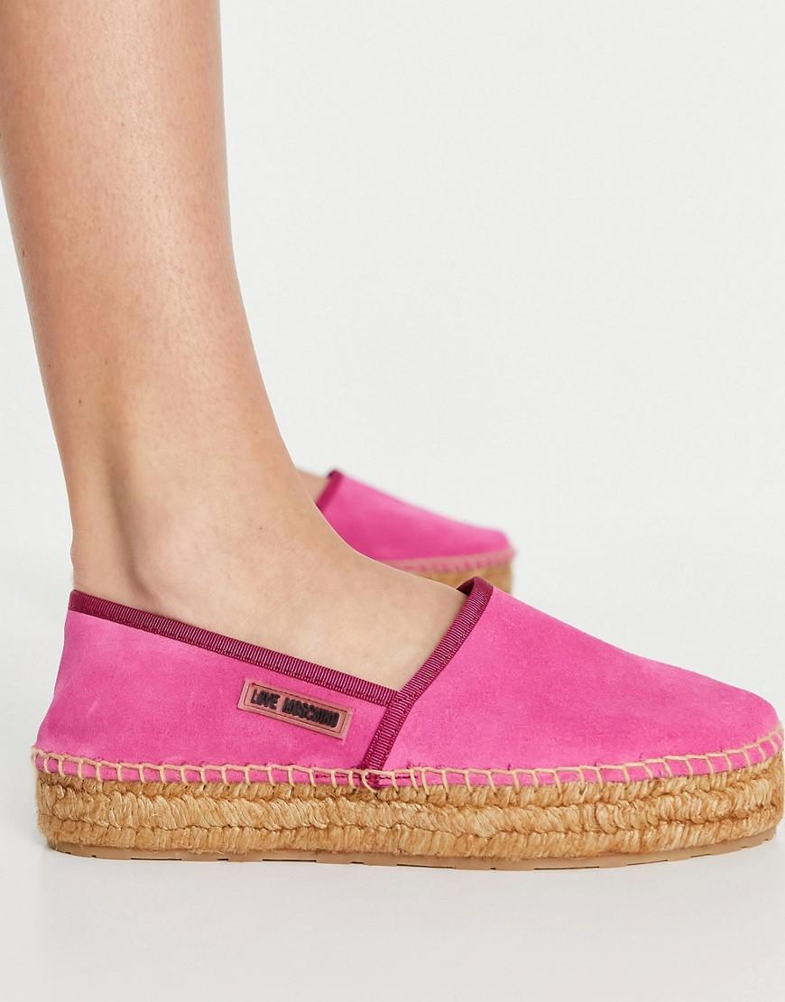 Love Moschino logo espadrilles in fuschia-Pink