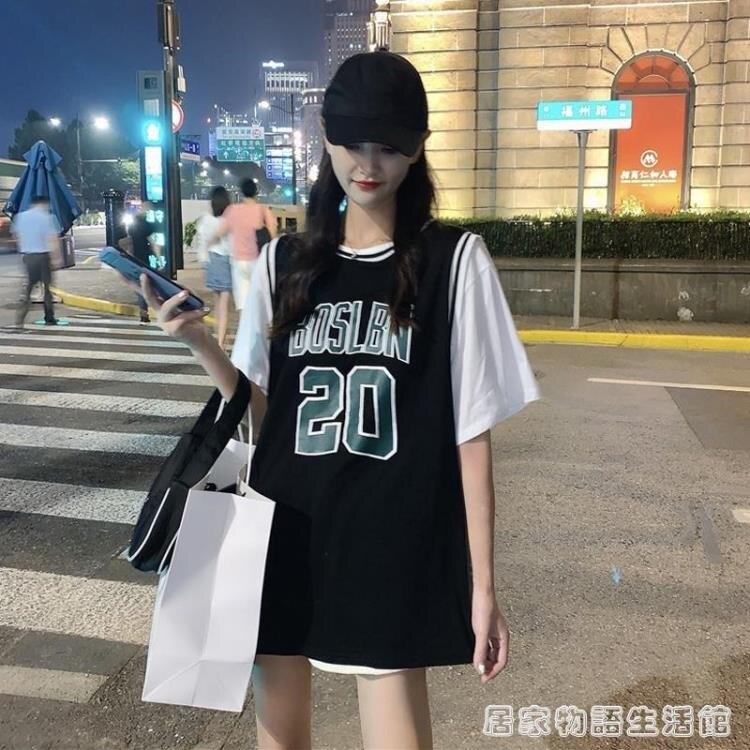 藍球服女寬鬆bf風韓版夏季新款中長款短袖t恤假兩件ins潮上衣 果果輕時尚