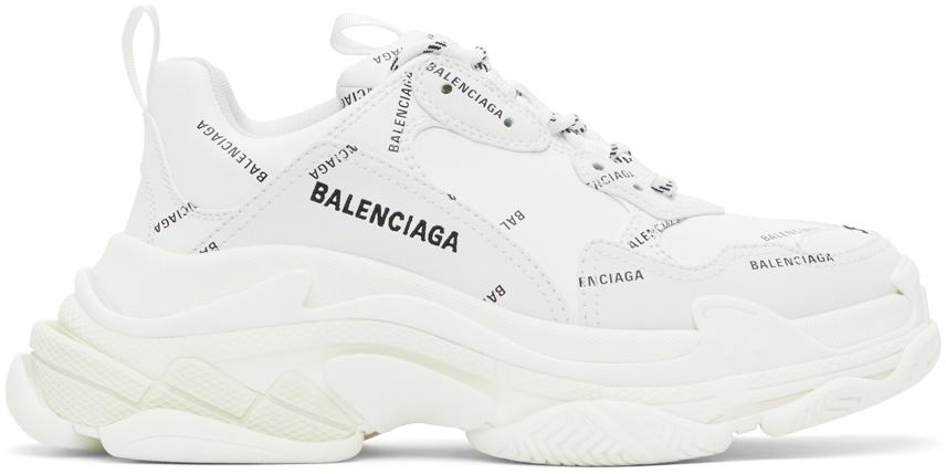 Balenciaga 白色 Triple S Allover Logo 运动鞋