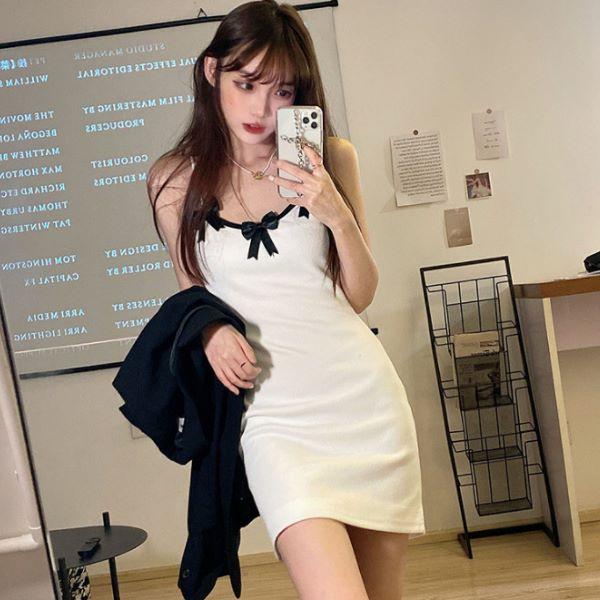 甜美蝴蝶結連身裙 法式性感蝴蝶結吊帶短裙洋裝-凱西娃娃