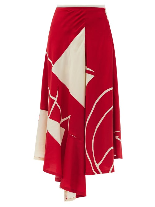 Colville - Voulant Asymmetric Printed Twill Skirt - Womens - Red Multi