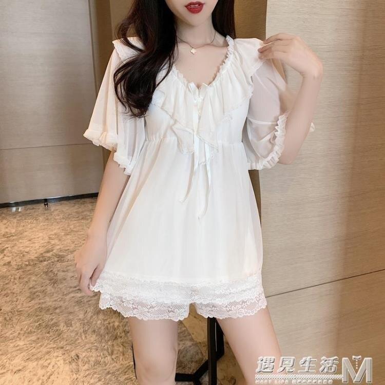 性感睡衣女夏季帶胸墊年新款時尚冰絲薄款可愛家居服兩件套裝 果果輕時尚