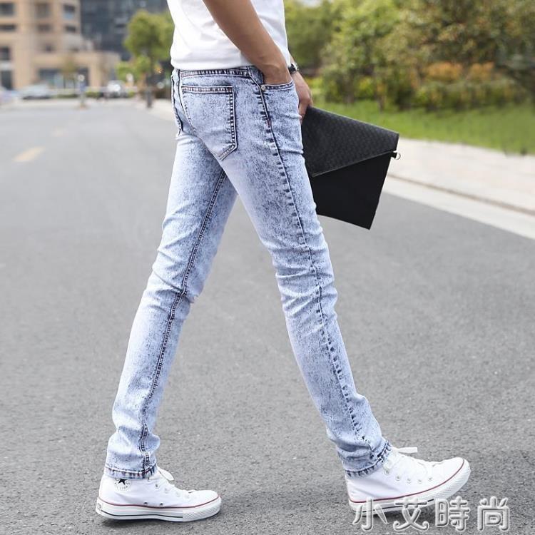 雪花灰白淺色牛仔褲男生休閒男褲子夏季薄款小腳修身韓版潮流長褲 凡卡時尚