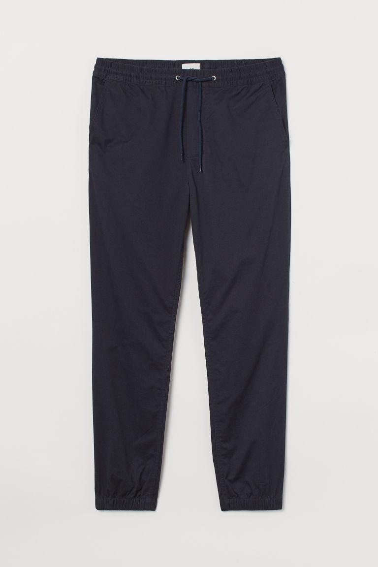 H & M - 刷毛棉質斜紋慢跑褲 - 藍色