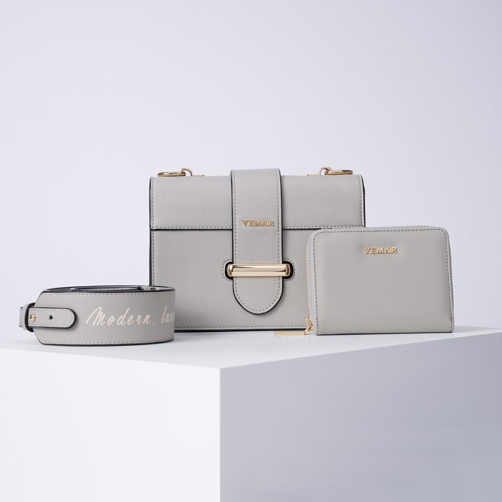 【預購4/12出貨】VEMAR極簡時尚經典磚塊小方包兩件組(高雅灰)