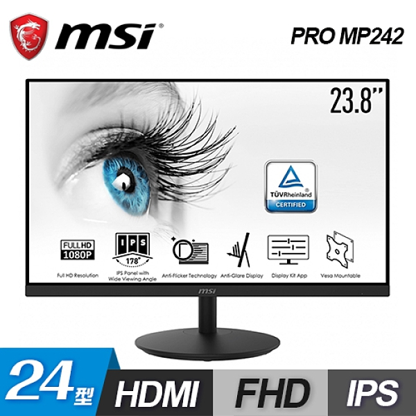 【MSI 微星】PRO MP242 IPS護眼專業螢幕