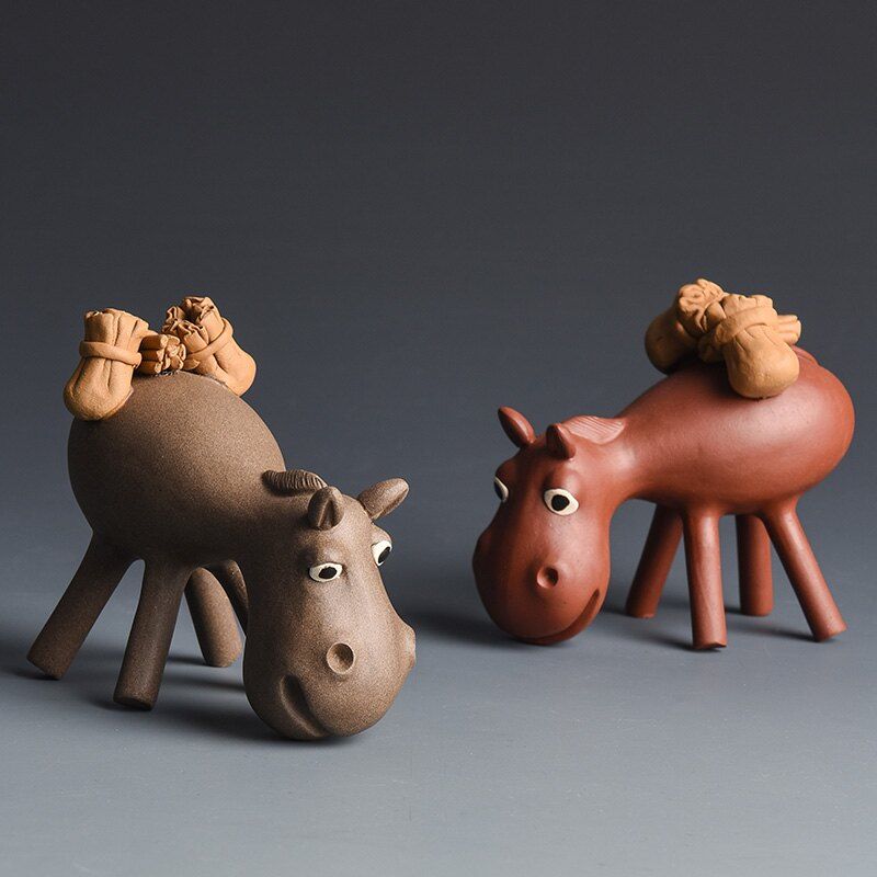 宜興紫砂茶寵 手工雕塑寓意驢運財工藝品 茶盤茶玩茶道擺件可養
