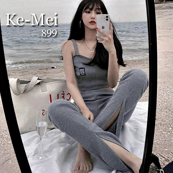 克妹Ke-Mei【ZT65911】kendall超模辣妹徽章針織馬甲+喇叭褲套裝