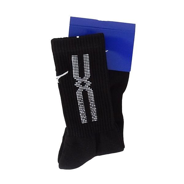 Mizuno Socks [32TX100891] 男襪 中筒襪 運動 休閒 厚底 排球 台灣製 25-27cm 黑白