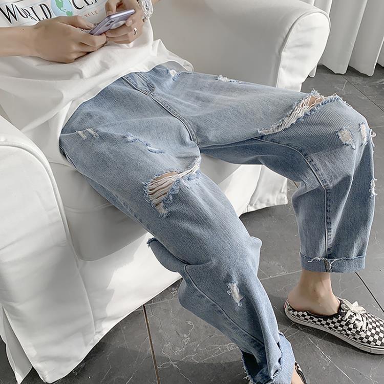 乞丐褲子男夏天ins薄款九分褲夏季破洞牛仔褲男新款寬鬆直筒 凡卡時尚