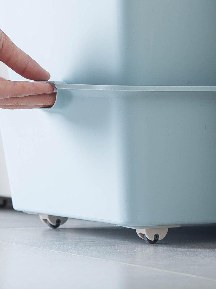 日本可粘贴轮子收纳盒整理箱底部滑轮垃圾桶单向轮4个入