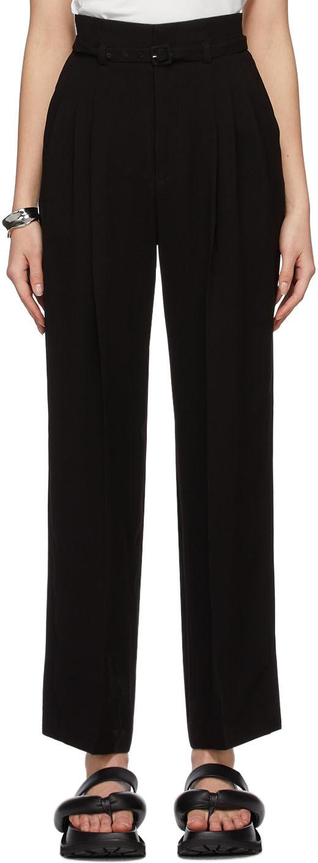 Mame Kurogouchi 黑色锥形束带长裤