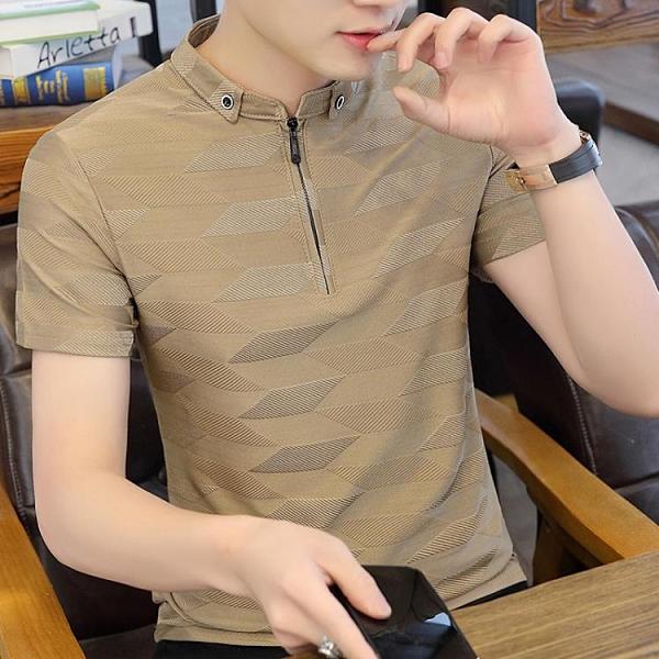 男士短袖t恤2021夏季新款潮牌POLO衫半袖體恤潮流拉鏈翻領上衣服 果果輕時尚