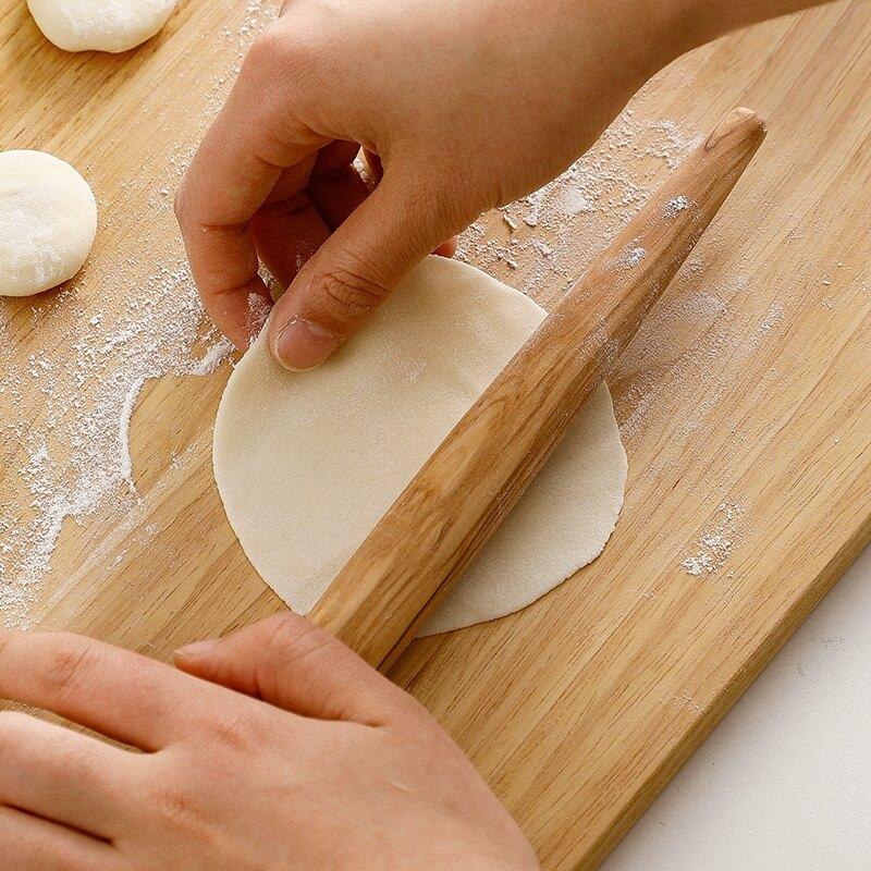 家用橄榄木擀面杖两头尖两头圆饺子皮擀面棍烘焙压面棍