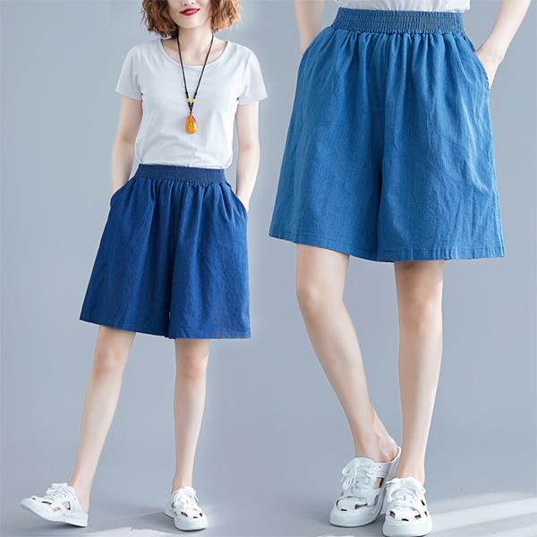 中大尺碼 短褲 減齡顯瘦寬鬆五分褲【030686】MAY06 3色  現貨+預購 19LADY