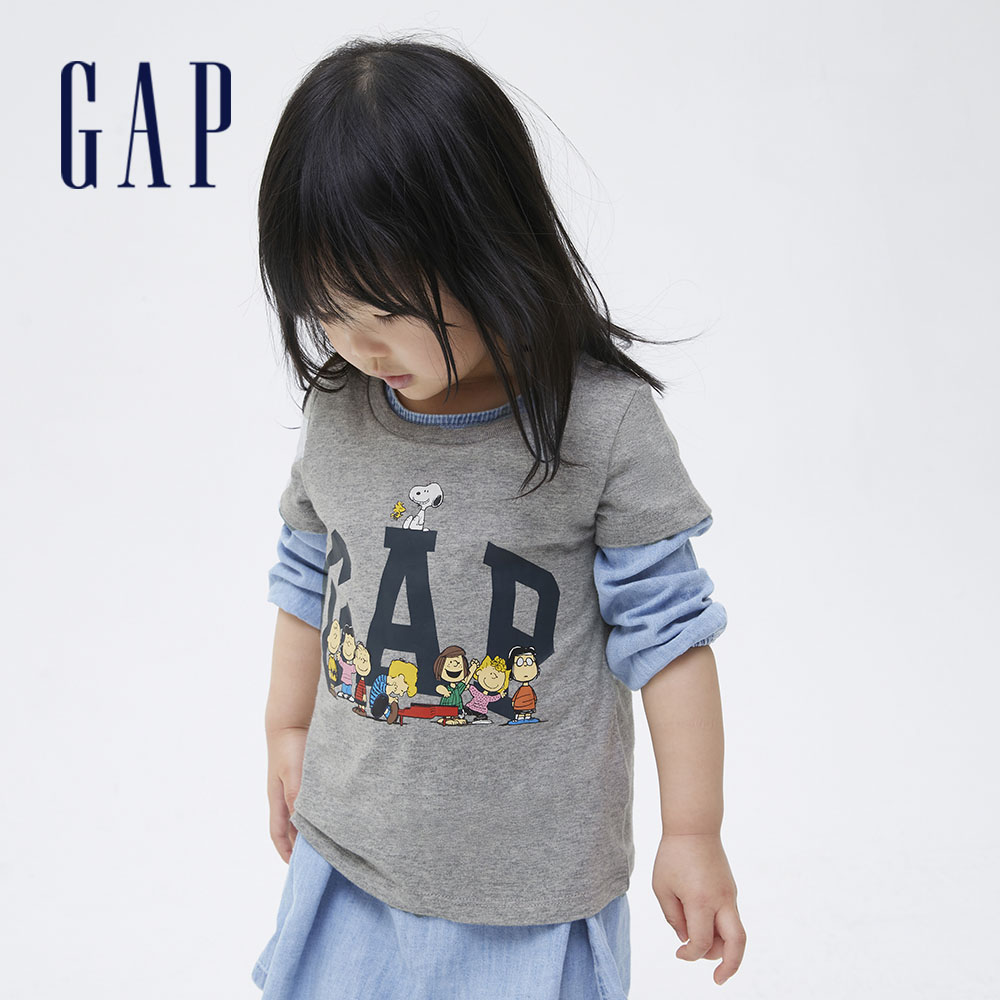 Gap 女幼童 Gap x Snoopy 史努比系列 Logo純棉短袖T恤 771083-灰色