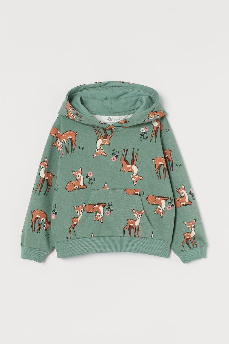 H & M - 圖案連帽上衣 - 綠色