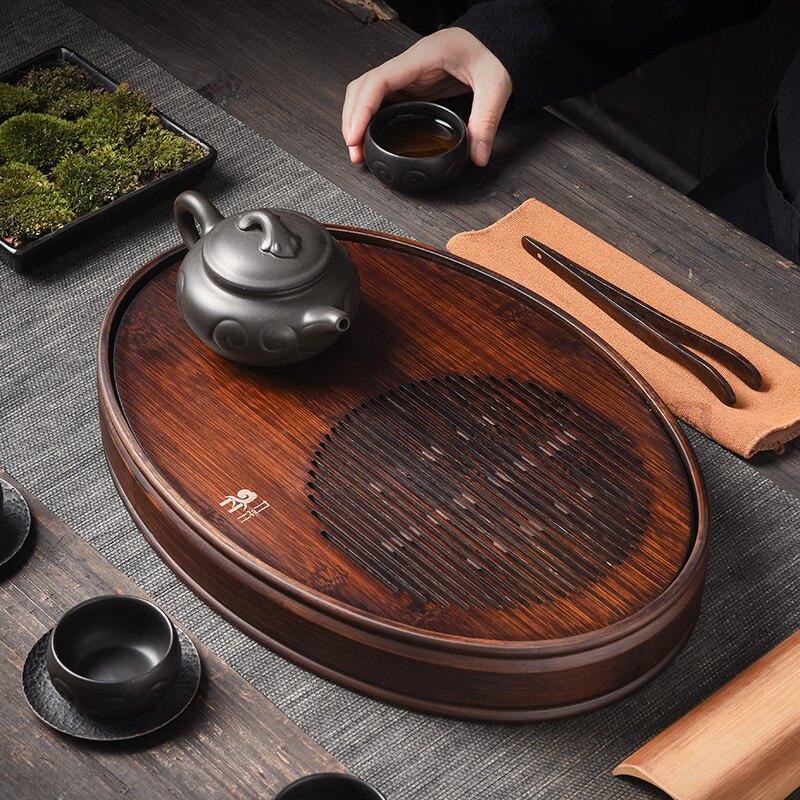 陶福氣家用胡桃色儲水式茶盤橢圓形茶托盤簡約家居百搭茶臺盛水盤