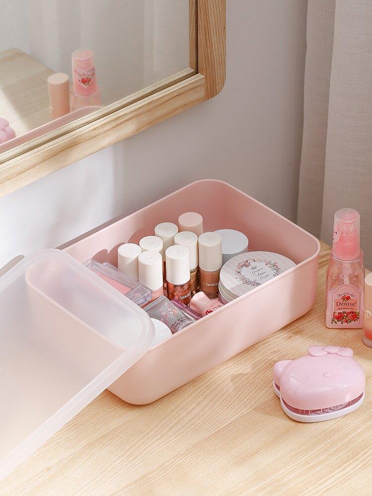 日本粉色带盖收纳盒桌面化妆品储物盒ins塑料杂物整理盒4件套